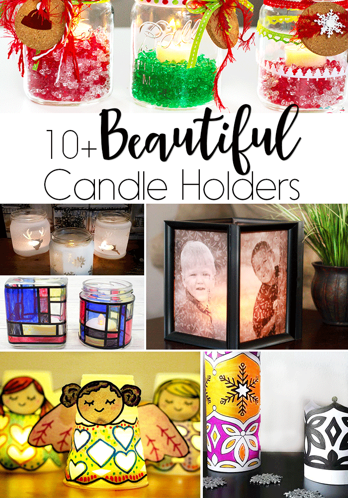 Make 10+ DIY candle holder crafts for your home. Printable candle holders, photo candle holders, faux stained glass candle holders and more for your craft time.