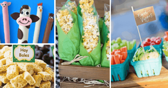 Farm themed snacks for preschool snack time.