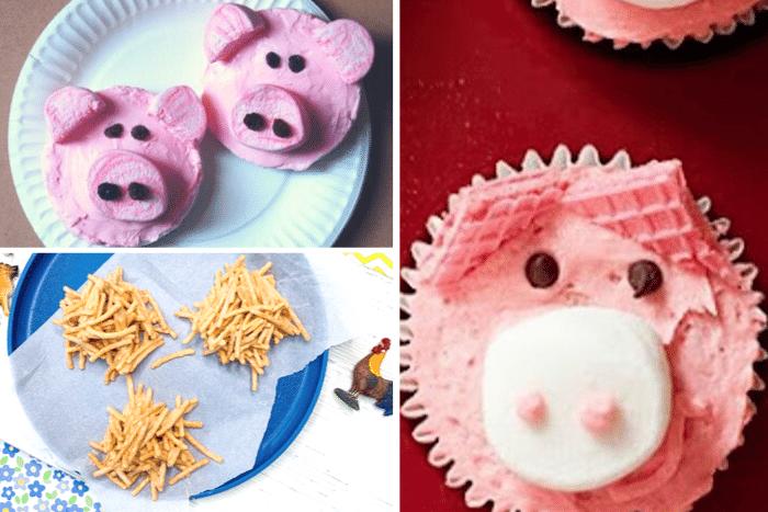 Pig rice cake farm snacks for preschoolers, farm cupcake snack idea for kids, haystack easy farm snack for preschool