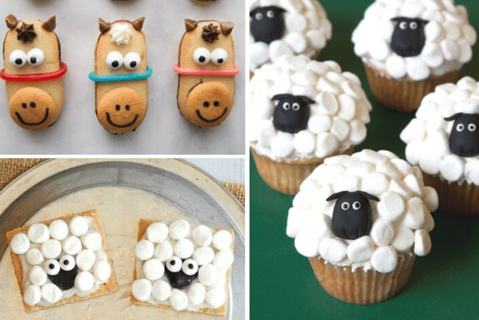 Horse sandwich cookies, sheep graham cracker snacks and sheep cupcakes.