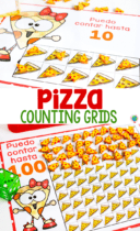 Spanish counting grids for counting to 10 and counting to 100. Grids filled with pizza mini erasers for counting. Puedo contar hasta 10 y Puedo contar hasta 100.