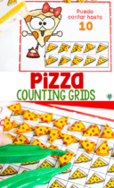 free printable counting activity for Spanish preschool math activities. Count to 10, 20 and 100 with pizza mini erasers.