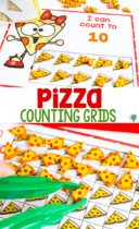 free pizza mini eraser counting grids for preschool math activity using pizza mini erasers to count to 10, count to 20 and use a hundred chart