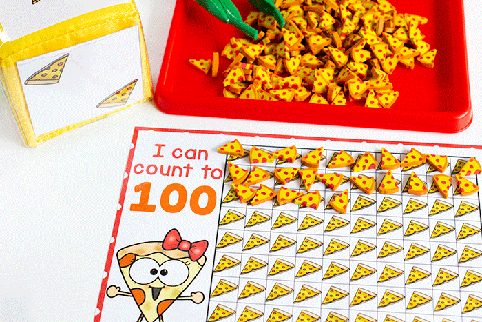 100 grid counting activity for preschool pizza mini erasers fine motor counting game for pre-k