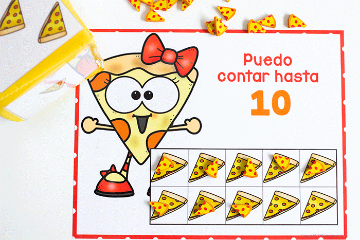 Spanish counting grids for counting to 10 and counting to 100. Grids filled with pizza mini erasers for counting. Puedo contar hasta 10