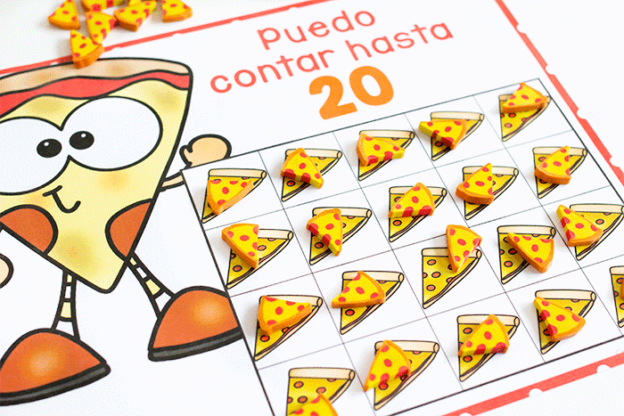 Spanish counting grids for counting to 10 and counting to 100. Grids filled with pizza mini erasers for counting. Puedo contar hasta 20