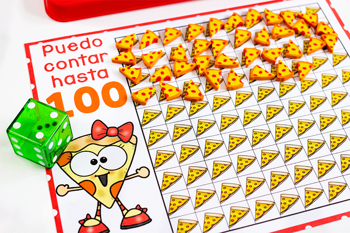Spanish counting grids for counting to 10 and counting to 100. Grids filled with pizza mini erasers for counting. Puedo contar hasta 100.