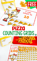 Pizza mini eraser themed counting activity for preschool math centers. Count to 10 and count to 100 with pizza mini erasers