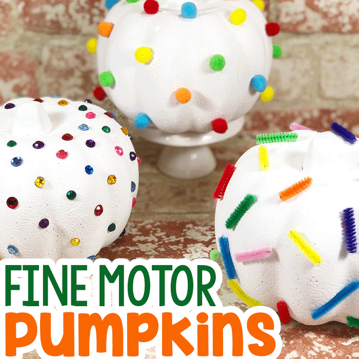 Three pumpkin crafts with fine motor decorations. White pumpkin with gems, pumpkin decorated with pom poms, pipe cleaner pumpkin