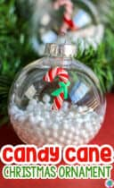 A fun Candy Cane Christmas ornament for preschoolers to make during the Christmas season