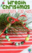 Christmas tree wreath bead craft for kids to create for the Christmas tree