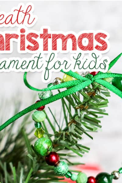 Beaded Christmas wreath craft for kids to hang on the Christmas tree