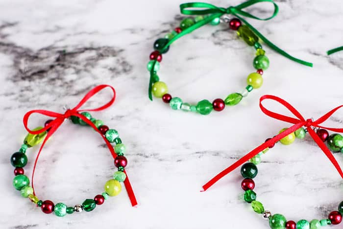 These fun bead wreath ornaments are easy to assemble and are a great craft for kids of all ages!