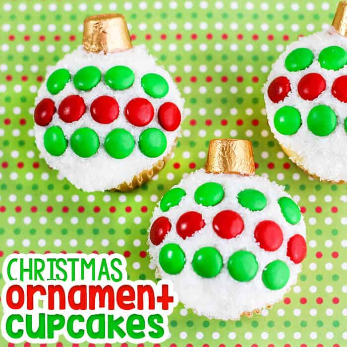 Christmas Ornament Cupcakes.