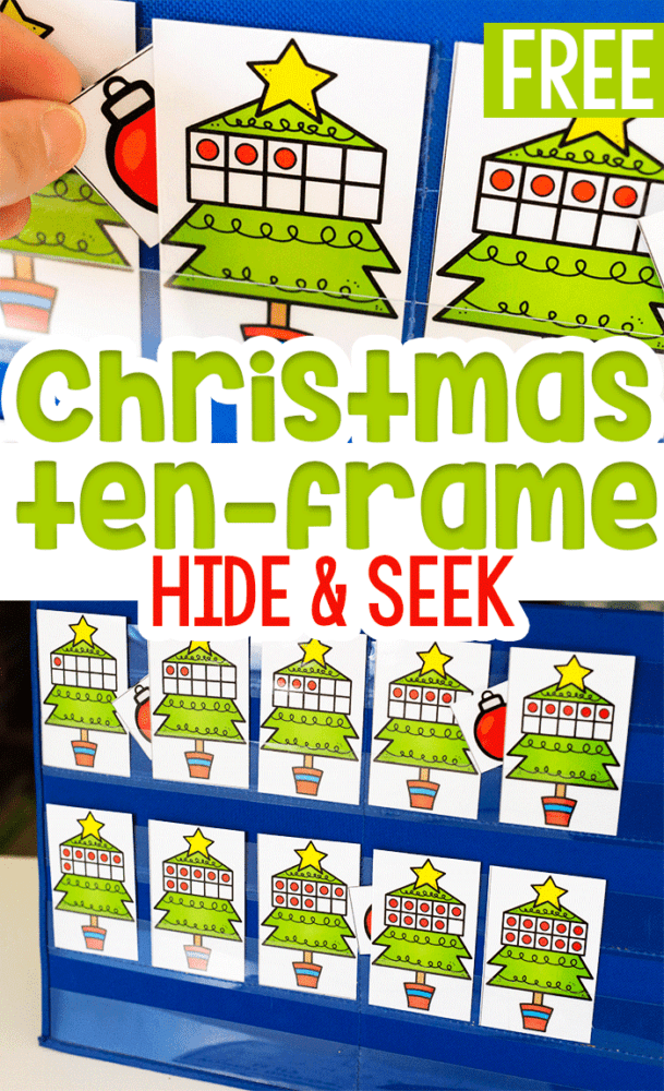 Christmas theme ten-frame hide and seek counting game for kindergarten math centers