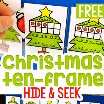Free printable Christmas ten-frame hide and seek game is a great way to work on counting to 10 with your preschoolers