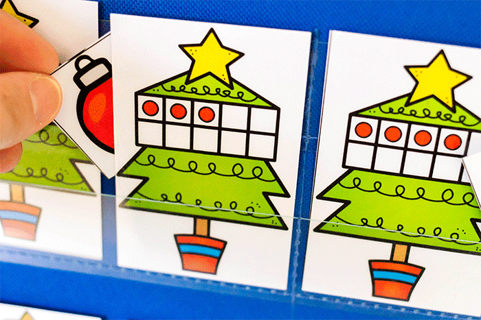 Practice counting to 10 with this Christmas tree themed hide and seek counting game for preschoolers.