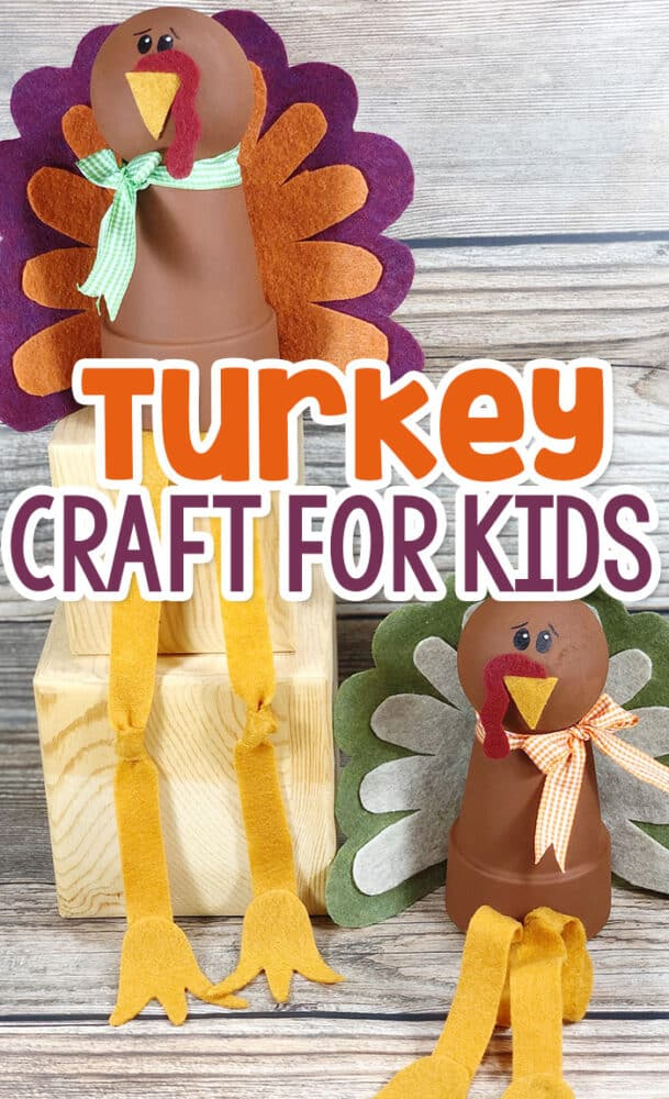 Felt turkey craft for kids. Use clay pots painted with brown acrylic paint to create the turkey body and craft the turkey feathers with felt.