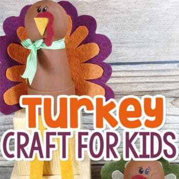 Felt turkey craft for kids made from clay pots, wooden balls and fall colored felt.