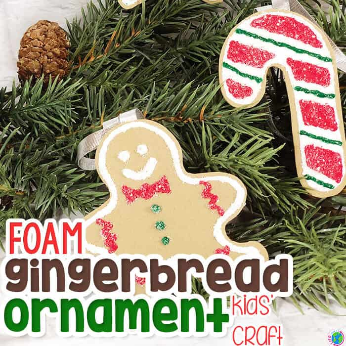 Easy foam gingerbread ornament craft for kids.