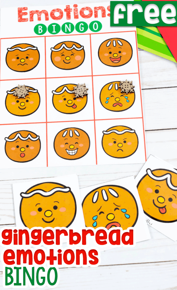 Free printable gingerbread Emotions BINGO game for preschoolers, pre-k and kindergarteners. Gingerbread faces showing emotions.