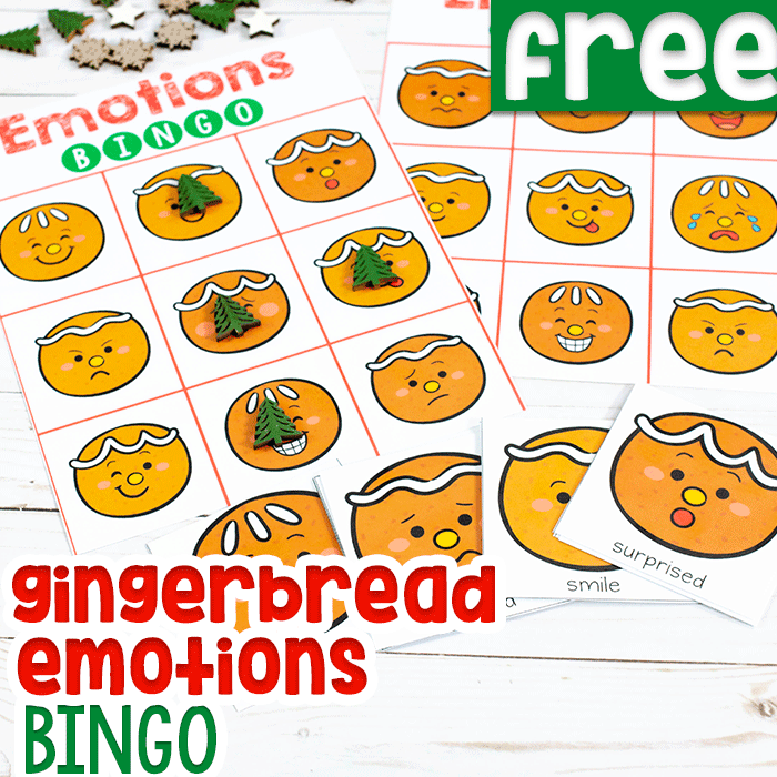 Emotions BINGO game free printable activity for preschooler Christmas theme