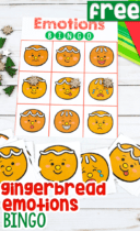 Free emotions BINGO game for preschoolers in a fun gingerbread theme for Christmas