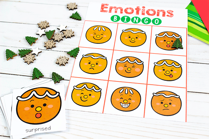 Play Gingerbread emotions BINGO game