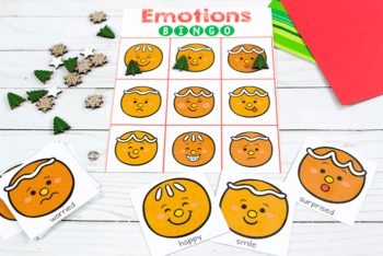 Gingerbread emotions BINGO Game for preschoolers Christmas theme game for class party