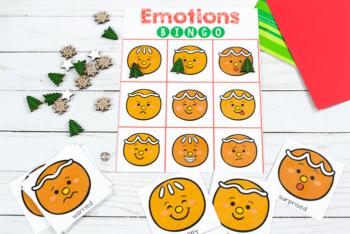 Free printable gingerbread Emotions BINGO game for preschoolers