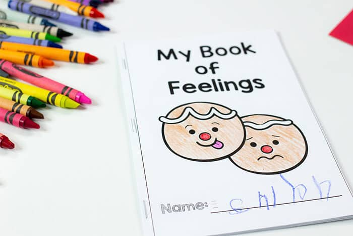 Teach preschoolers about emotions with this free printable emotions mini book in a fun gingerbread man theme.