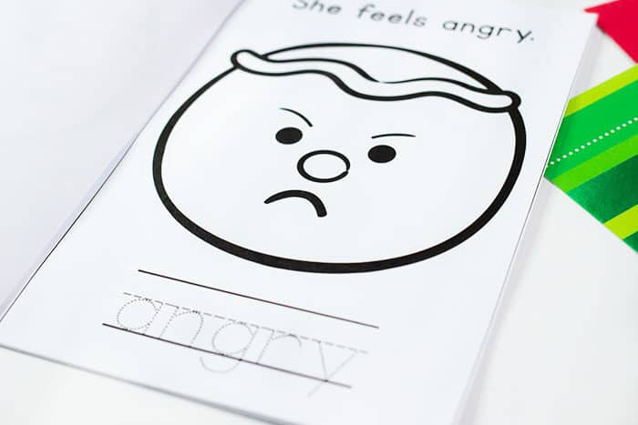 Practice writing skills and identifying emotions with this free printable mini book for teaching emotions to preschoolers.
