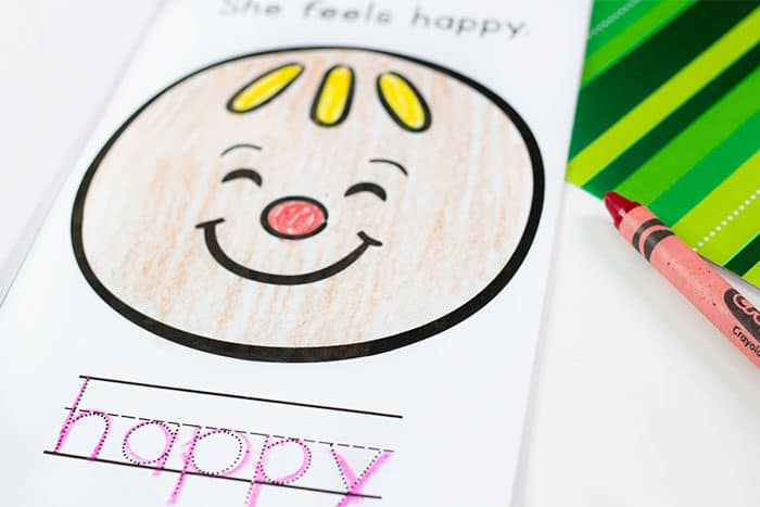 Free printable gingerbread theme emotions mini book for learning about emotions with preschoolers.