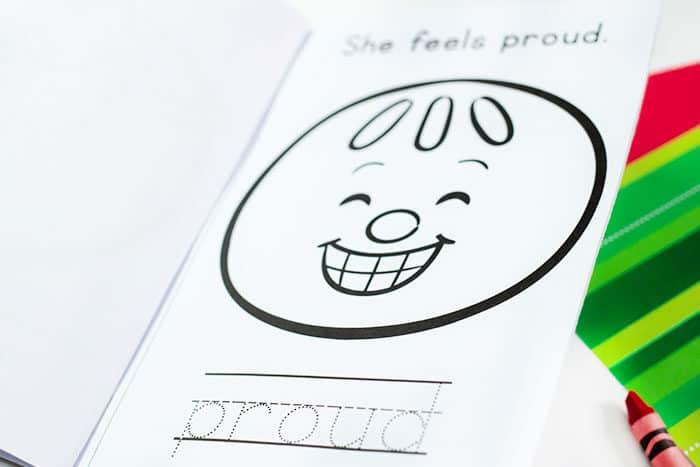 Preschoolers will learn emotion facial expressions with this free printable gingerbread emotions mini book.