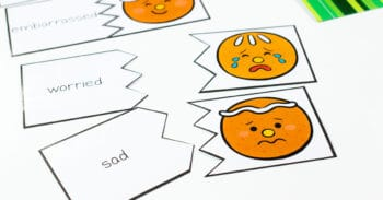 Free printable gingerbread theme emotions puzzles for a preschool emotions activity