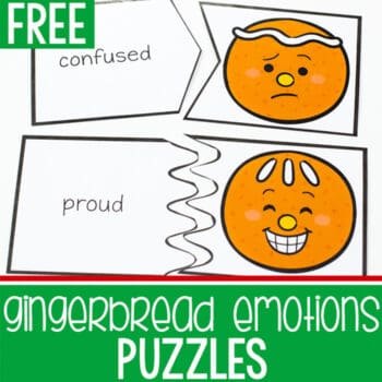 Printable puzzles for a gingerbread themed emotions activity.