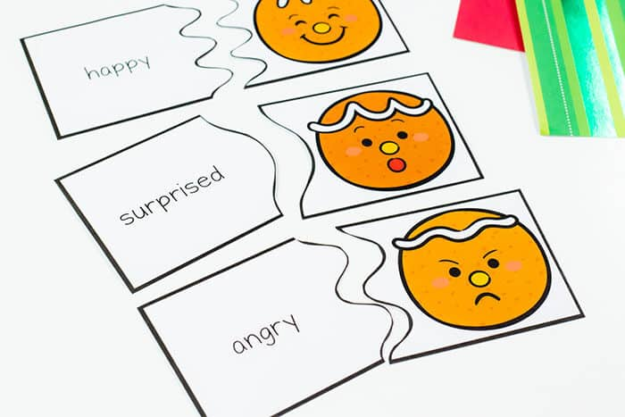 Free printable gingerbread emotions puzzles for teaching emotions to preschoolers
