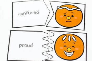 Teaching emotions to preschoolers becomes more fun when you use free printable gingerbread theme emotions puzzles