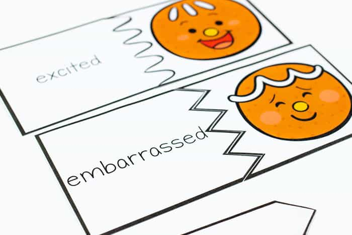 Free printable gingerbread emotions puzzles for preschoolers.