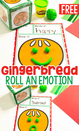 Free printable Gingerbread I Feel play dough mats for learning about emotions in preschool and kindergarten.