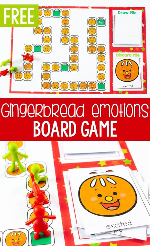 Gingerbread themed emotions board game. Printable game board with emotion cards for learning about emotions with preschoolers.