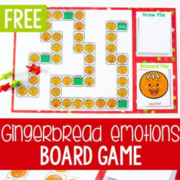 Free printable Christmas emotions game for preschool. Print the game and play the Candyland styled game to learn about emotions with your preschoolers.