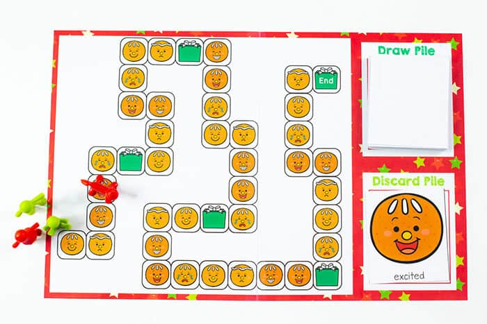 This winter learn about emotions with a fun free printable gingerbread themed board game for emotions.