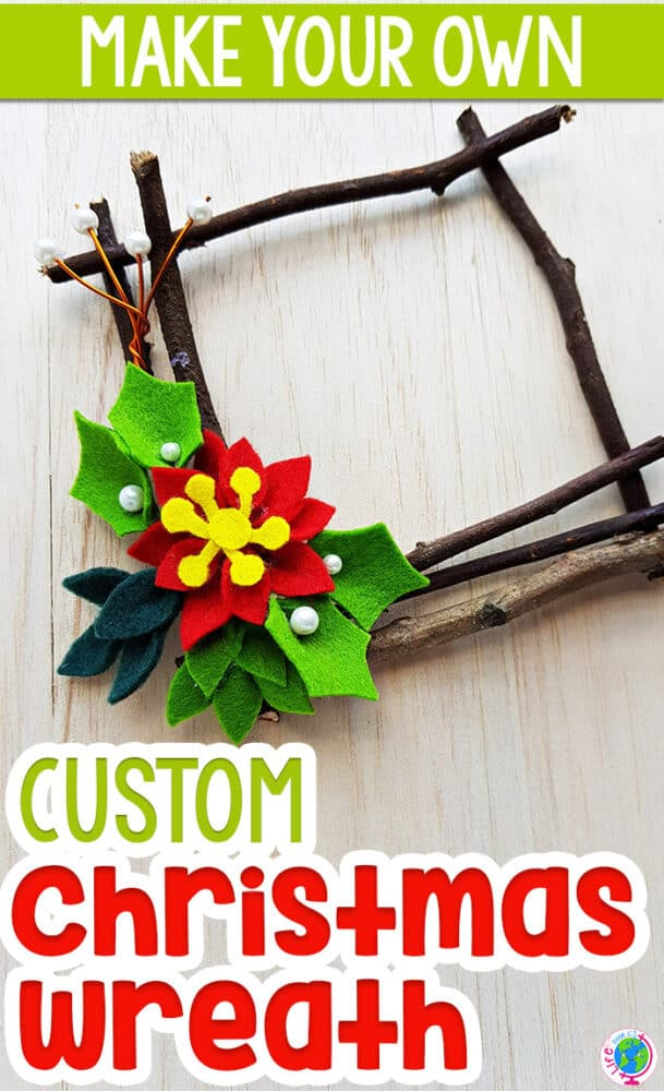 Natural Christmas craft for preschoolers to make a Christmas wreath with sticks and felt