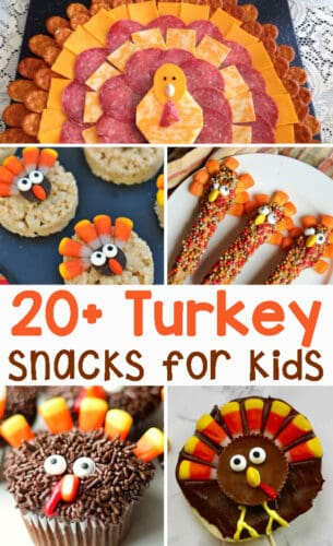 Turkey snacks that kids will love to help make as well as eat. These thanksgiving treats are easy to make, festive and fun! These easy snacks are perfect for home, neighbors or even classroom treats!