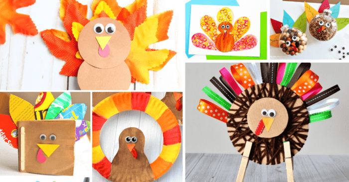 Simple Thanksgiving turkey crafts for kids to make for your Thanksgiving craft time.