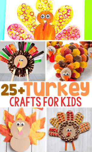 25+ Turkey crafts for kids: tissue paper painted turkey craft, clothespin and ribbon turkey craft, painted pine cone turkey, leaf turkey, pasta turkey collage