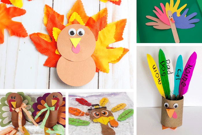 Easy turkey crafts for kids for Thanksgiving: Leaf turkey, felt and clay pot turkey, turkey sensory bag, toilet paper roll turkey, handprint turkey
