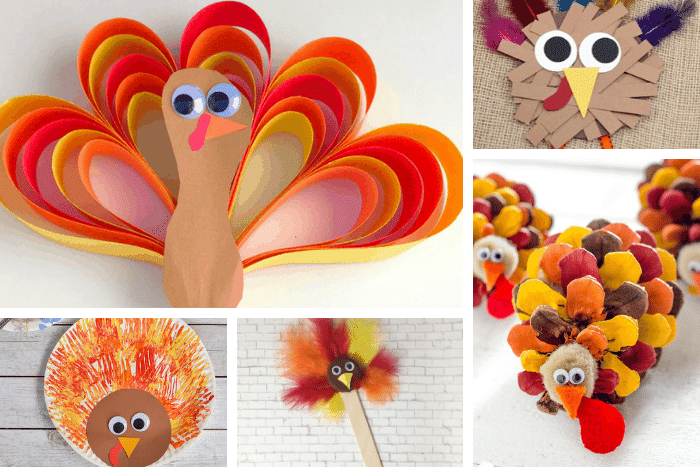 25+ easy Thanksgiving turkey crafts for kids: Construction paper turkey, painted pinecone turkey, bottle cap turkey, fork painting turkey, paper scrap turkey