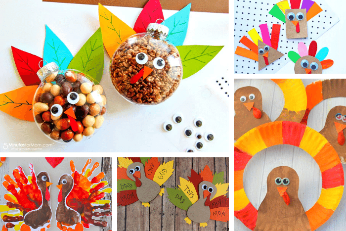 Create one of these 25+ easy turkey crafts for kids this Thanksgiving: Thanksgiving treat ornaments, shape turkeys, handprint and footprint turkeys, Thankful turkey craft, paper plate turkey craft.